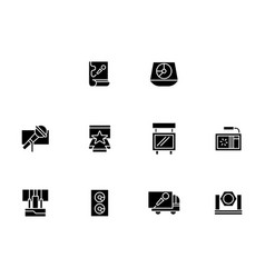 equipment for show black glyph style icons vector image vector image