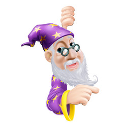 Friendly wizard pointing vector