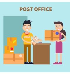 Post Office Woman Sending Parcel Postal Service vector image