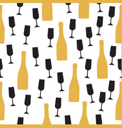 seamless pattern with champagne bottle and glasses vector image