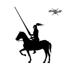 black silhouette of knight on white background vector image
