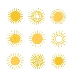 Different hand drawn suns vector image vector image