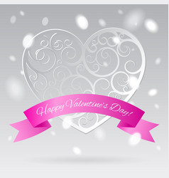 white decorative paper hearts with pink banner in vector image vector image