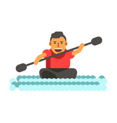 athletic man swims on black single-seat kayak vector image vector image