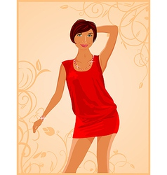 cute fashion girl on floral background - vector image vector image