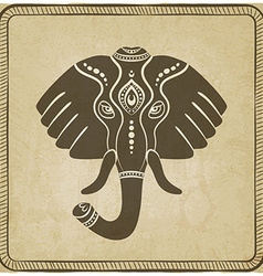 Elephant head old background vector image