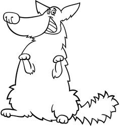 happy shaggy dog cartoon for coloring book vector image vector image