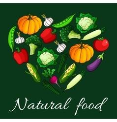 Heart vegetables flat icons Natural food emblem vector image
