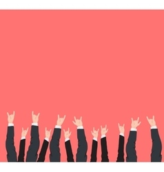 Many hands up cool rock victory and success vector image vector image
