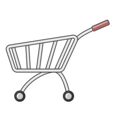 market shopping cart icon cartoon style vector image