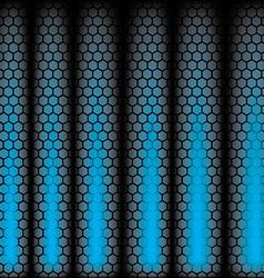 Metal Shine Hexagon Grid on blue Background vector image