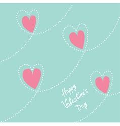 Pink dash line heart background Flat design vector image vector image