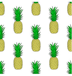 seamless pattern with a pineapple exotic fruit vector image vector image