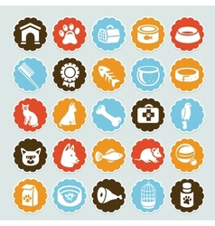 Set of stickers with pet icons vector image