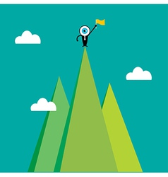 The blue eye leader on the top of mountain vector image vector image