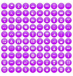 100 voyage icons set purple vector