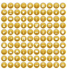 100 wine icons set gold vector image