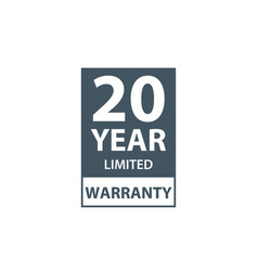 20 years limited warranty icon or label vector