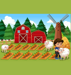 A boy at farmland vector