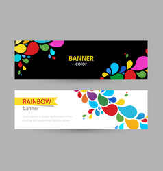 abstract bright banner with drops rainbow vector image