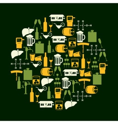 alcohol drinks icons set in color circle eps10 vector image