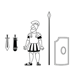 Ancient warrior BW vector image