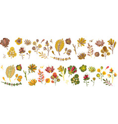 Autumn plant set forest cute abstract leaves vector