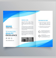Blue trifold business brochure design with wave vector
