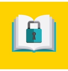 Book and padlock icon Copyright design vector image