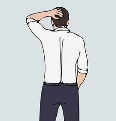 business man back with hand on head vector image