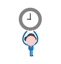businessman character holding up clock vector image