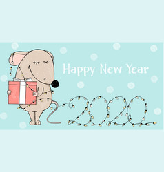 card with cute mouse and christmas lights 2020 vector image