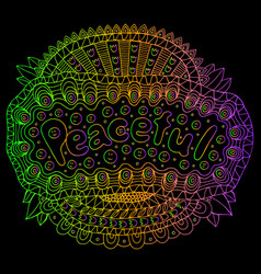 cartoon art with mandala and peaceful gradient vector image