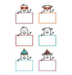 Cartoon labels 5 vector