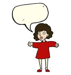 Cartoon nervous woman with speech bubble vector