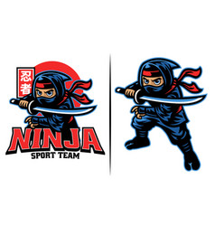 cartoon ninja warrior with katana sword vector image