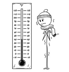 Cartoon of chilled man looking at big fahrenheit vector