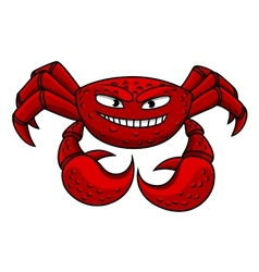 Cartoon red crab character vector