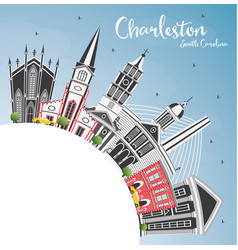 Charleston south carolina city skyline with gray vector