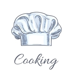 Chef hat or baker toque isolated sketch vector image