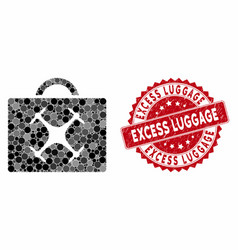 Collage drone toolbox with grunge excess luggage vector