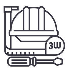 construction toolsmeter hard hat hammer vector image