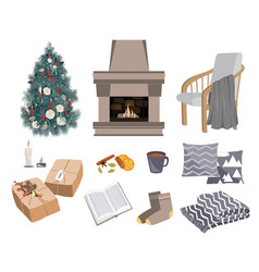 cozy winter set with fireplace chair vector image