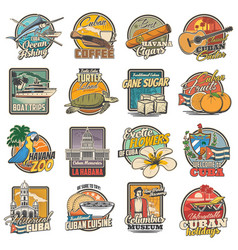 Cuba and havana travel tourist attractions icons vector