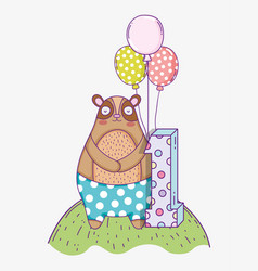 cute bear birthday one year with balloons vector image