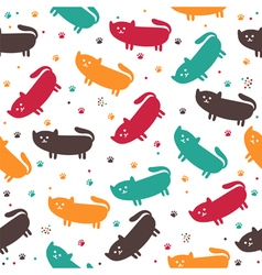 Cute seamless pattern with funny cats vector