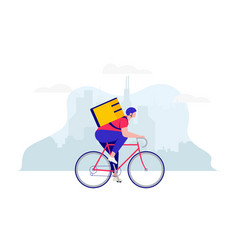 delivery guy courier on bicycle with food vector image