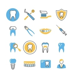 Dental care services equipment and products vector