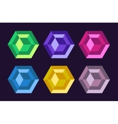 Diamond technology icon monogram set vector