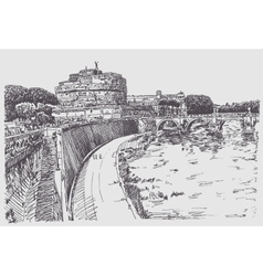 Drawing cityscape with fortress of SantAngelo in vector